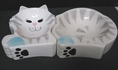 Unusual Mint Condition Ceramic Happy Cat Kitten Dishes Face Body Paws | eBay