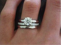 Stackable rings are in for 2015. Brian Gavin Diamonds Grace #EngagementRing and Wedding Band Trio.