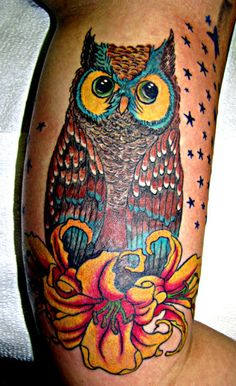 Owl done by Denise at High Priestess tattoo and piercing in Corvallis, Oregon. The colors in this are amazing