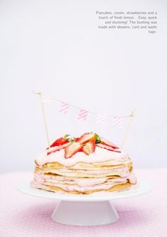 Pancake cake with strawberry-lemon frosting. Mother's Day Special Edition
