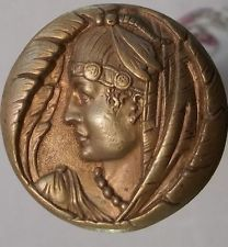 Antique Deco Brass/Gold Plated Face Hat Pin
