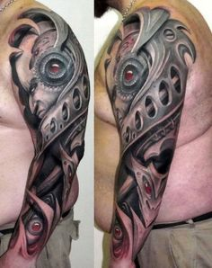 Within the metal work of this tattoo hides a sinister face. #tattoo #inkedmagazine #tattoos #inked #ink