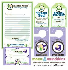 Pacifier Fairy Printables