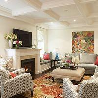 Meredith Heron Design - living rooms - window seat, living room window seat, built in window seat, coffered ceiling, living room coffered ce...