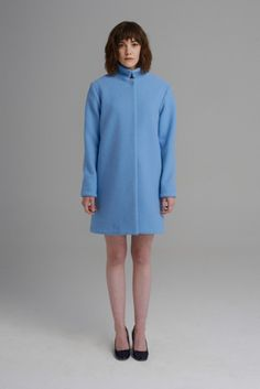Sky blue wool coat in straight cut with hidden buttons, seam side pocket and standing collar. Blue Wool, Straight Cut, Wool Coat, Anna, High Neck Dress, Dresses, Style, Fashion, Turtleneck Dress