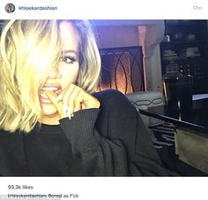 Feeling restless: Khloe Kardashian revealed that she was bored on Saturday night in an Instagram snap