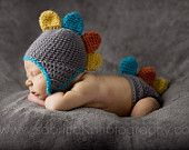 Colorful DINO Hat and Diaper Cover