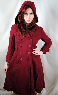 My dream coat's on Etsy! It has a hood and in my fave color! It's a good cross-over piece for gothic lolita, formal, and semi-formal/casual looks. ♡