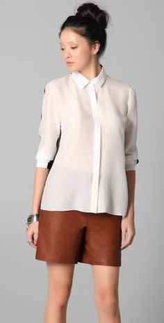 Cushnie Et Ochs Button-up Blouse with Sheer Back thestylecure.com