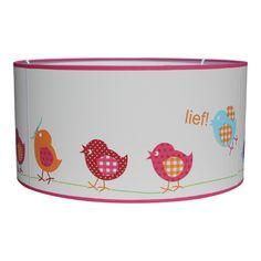 Lief lifestyle behang lamp in vogeltje uitvoering met roze rand hanglamp lampenkap verlichting vogels kinderkamer babykamer meisjes