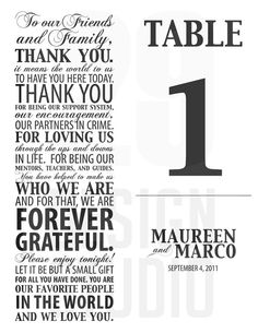 Unique Table Numbers and Thank You Note Print by 29DesignStudio