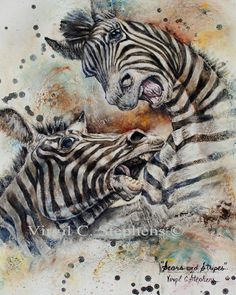 Scars And Stripes 16 x 20 giclee print from the original oil painting, of two Zebras fighting, African artwork, print
