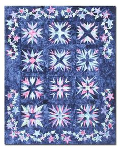 """A stunning quilt that highlights12 gorgeous Midnight Stars! Featuring hand dyed fabrics, each star looks so complicated, but the difficulty disappears as each is made easier with paper foundation piecing! Each month's kit contains pattern, foundation paper, instructions and fabric to complete a12"""" star. Borders, applique, and binding fabrics are also included throughout the program.The monthly cost is $18.99 per month plus shipping costs as follows:US Shipping - $5.10 …"""