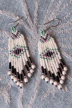 Seed Bead Earrings  White Aqua and Purple  by CreationsbyWhiteWolf, $18.00