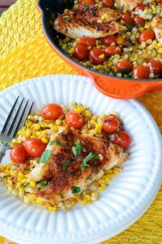 Mexican Corn & Grape Tomato Skillet with Grouper recipe by Katie's Cucina (Seafood Mexican Recipes) Grouper Recipes, Shellfish Recipes, Seafood Recipes, Mexican Food Recipes, Salmon Recipes, Healthy Foods To Eat, Healthy Eating, Healthy Recipes, Lunch Recipes