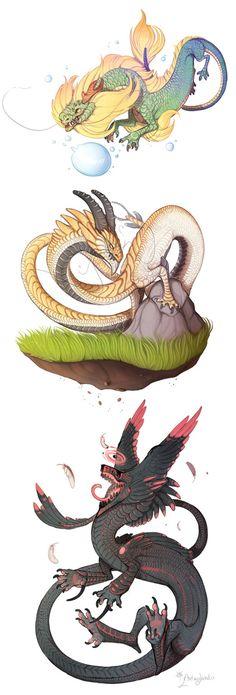 Long dragons by azira-star-wind.deviantart.com on @DeviantArt
