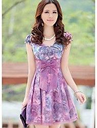 Women's Purple Floral Print Chiffon Slim Dress – USD $ 19.99
