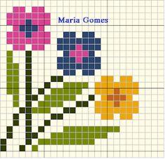 Maria Gomes : Os Meus Gráficos de Ponto Cruz Cross Stitch Embroidery, Cross Stitch Patterns, C2c Crochet, Stitch 2, Cross Stitch Flowers, Flower Patterns, Diy And Crafts, Bison, Crossstitch