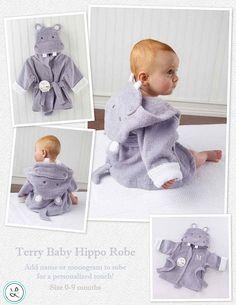 Monogrammed Baby Hippo Bathrobe - Personalized Baby Bathrobe - Hippo Baby Robe - Embroidered Hippo Baby Terrycloth Bath Robe