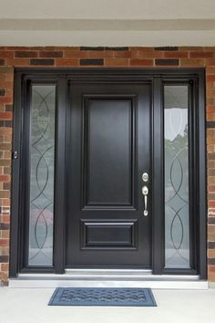 eching Front Door Paint Colors - Want a quick makeover? Paint your front door a different color. Here a pretty front door color ideas to improve your home's curb appeal and add more style! Black Front Doors, Wooden Front Doors, Exterior Front Doors, Painted Front Doors, Glass Front Door, Black Door, Home Door Design, Main Door Design, Front Door Design
