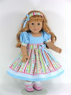 Doll Clothes for American Girl Mary Ellen - Dress, Headband, Pantaloons - Sparkly Princess Stripe - Exclusively Linda Doll Clothes