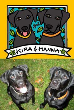 Kira & Hanna: Beautiful Black Labs - Custom Pet Portrait by Anne Leuck Feldhaus http://AnnesArt.com
