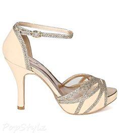 Qupid BI64 Mesh Peep Toe Ankle Strap Glitter Trim Stiletto