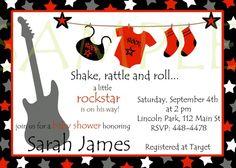 Rockstar Baby Shower Boy Invitations Red Black and Silver Gray
