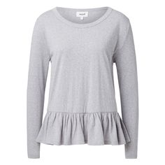 Polyester/cotton/viscose Frill peplum Sweater. Comfortable fitting silhouette features a scoop neck, long sleeves and frill hem. Available in Mid Grey Marle and Ink Blue as shown.