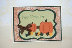 Happy Thanksgiving Fall Pumpkin Handmade Card, Autumn Greeting Cards, Thanksgiving Card #etsy #uniquejewelry