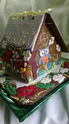 ❄☃❄ ❄☃❄ ❄☃❄ ❄☃❄ ❄☃❄ Gingerbread House back side, springtime flowers, owl Gingerbread House Parties, Gingerbread Decorations, Christmas Gingerbread House, Gingerbread Cake, Christmas Cookies, Christmas Crafts, Gingerbread Houses, Cookie House, House Cake