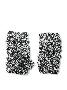 Buji Baja Women's Popcorn Fingerless Gloves, Black/Ivory Tweed