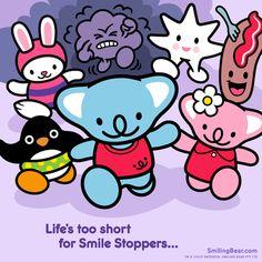 Life's Too Short For Smile Stoppers... Animated gif version here: http://smilingbear.com/blog/lifes-too-short-for-smile-stoppers  #smilestoppers #running #chase #smilingbear #smilemore #koala #koalabear #bear #smile #smiling #happy #cute #kawaii #australia #aussie #sydney #beach #manga #art #design #illustration #cartoon #characterdesign #fun #GIF #otaku #plush #iphonesia #kawaiigurls #kawaiioftheday