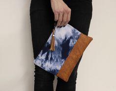 navy #shibori #clutch, #tiedye clutch, blue hand dyed #purse