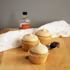 Brown Sugar Cupcakes with Bourbon Salted Caramel Frosting