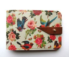 Leather card case/ Oyster card holder  Birds & Roses by tovicorrie, $39.00