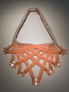 woven zipper necklace, looks cool if you are inclined to wear zippers