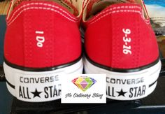 Custom Wedding Converse Low Red Heels - Personalized Mrs. Wedding Shoes - Bridal…