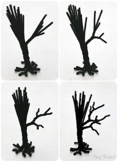 Pipe Cleaner Trees -- Halloween Craft Tutorial Spooky Trees Halloween Craft for Halloween Decorations, Small Worlds and Train Sets from Play Trains!Spooky Trees Halloween Craft for Halloween Decorations, Small Worlds and Train Sets from Play Trains! Halloween Town, Halloween Diorama, Theme Halloween, Fun Halloween Crafts, Halloween Trees, Holidays Halloween, Fall Crafts, Holiday Crafts, Holiday Fun