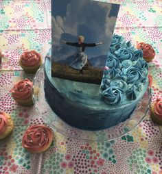 Sound of Music Birthday cake with Rain Drops on Roses Cupcakes