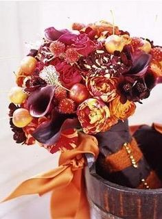 Fall Wedding Flowers- Is orange and Plum going to be the colour combination for 2014?