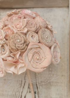 I want to know how to make these....simply because they are lovely.   Maybe I can make them into a piece of wall art or decorate throw pillows.  So feminine!  Handmade Blush Champagne & Ballet Pink Alternative Bride's Bouquet by TheSunnyBee on #Etsy