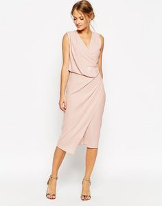 Image 1 of ASOS WEDDING Wrap Drape Midi Dress