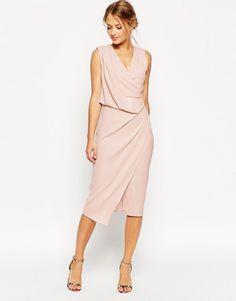 Buy ASOS TALL WEDDING Wrap Drape Midi Dress at ASOS. Get the latest trends with ASOS now. Draped Dress, Dress Skirt, Dress Up, Dress Belts, Asos Dress, Lace Dress, Sheath Dress, Wedding Robe, Asos Wedding