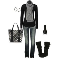 totally me with a scarf and sweater set.  Add in a litte more jewelry - maybe a nice watch & bracelet.