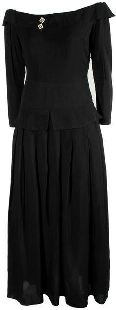 Vintage 1940s Black Evening Gown at ballyhoovintage.com