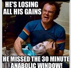 He's losing all his gains! He missed the 30 minute anabolic window! - He's lo. - He's losing all his gains! He missed the 30 minute anabolic window! – He's losing all his ga - Fitness Studio Motivation, Gym Motivation, Workout Memes, Gym Memes, Crossfit Memes, Funny Memes, Post Workout, Jokes, Gym Frases
