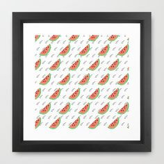 Watermelon Seeds Summer Pattern Framed Art Print