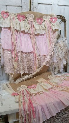 Large table runner burlap shabby chic handmade pink and cream romantic cottage linen home decor by Anita Spero