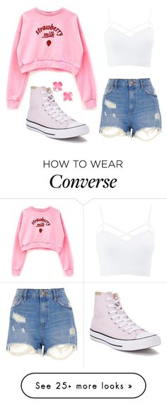 """Strawberry Milk"" by alexarose1101 on Polyvore featuring Kate Spade, River Island, Converse, Charlotte Russe and plus size clothing"